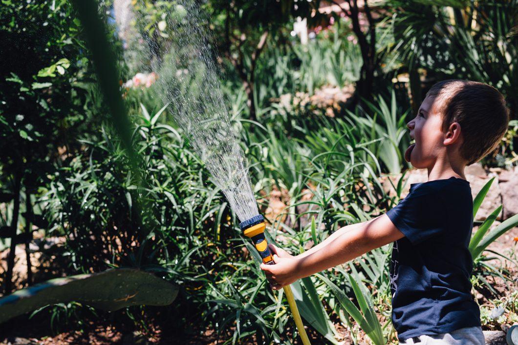 Instants de vie joyeux - L'arrosage du jardin